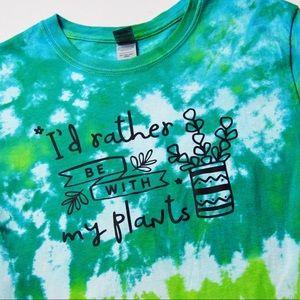 New Custom Tie Dye - Plant Lover T-Shirt